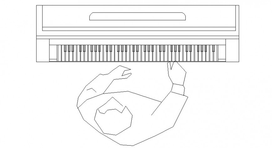 Pianist detail 2d drawing in Autocad software