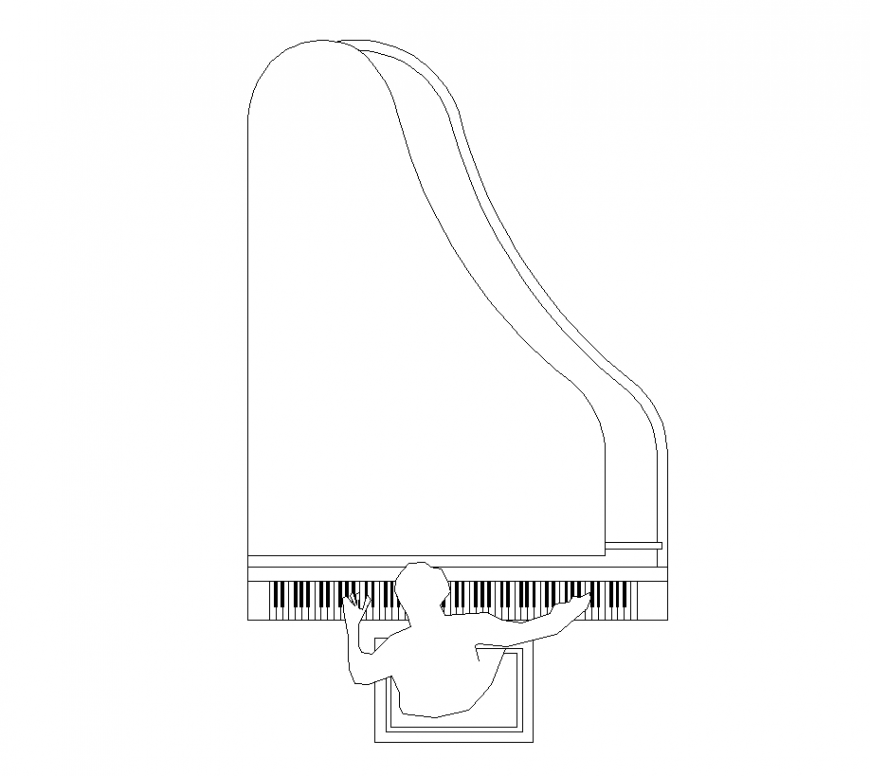 Piano musical instrument plan with detail of house hold block dwg file