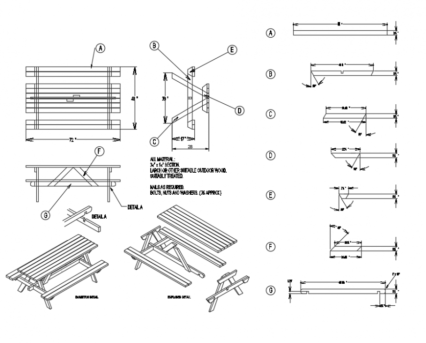 Picnic garden bench elevation, section and plan details dwg file