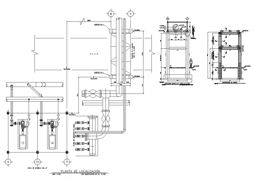 Pipe-system detail 2d view layout autocad file