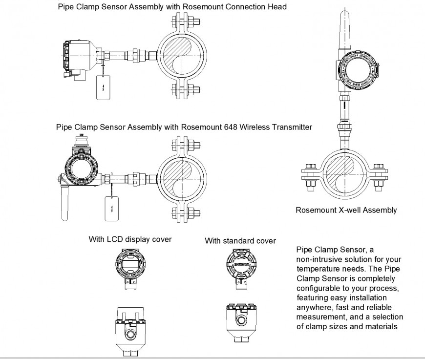 Pipe clamp sensor assembly with rosemount connection head dwg file