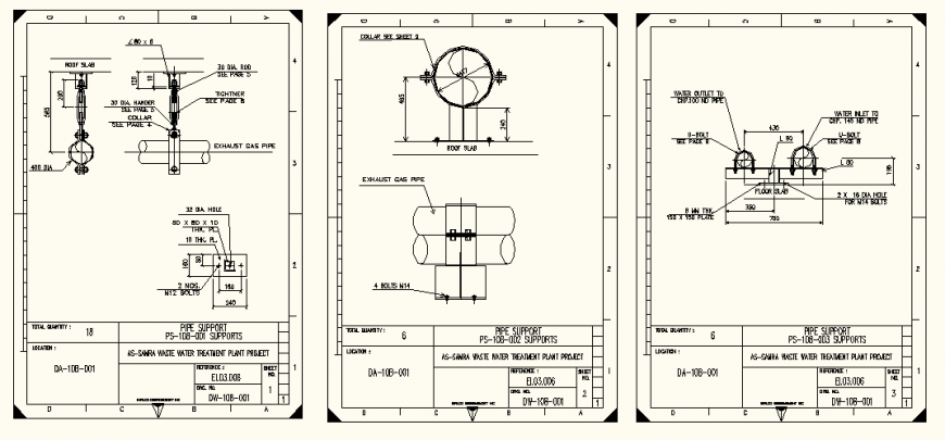 Pipe line elevation detail layout plan