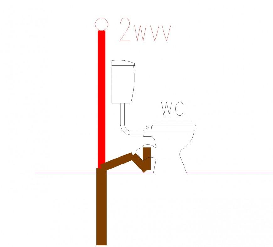 Pipe line sanitary toilet autocad file