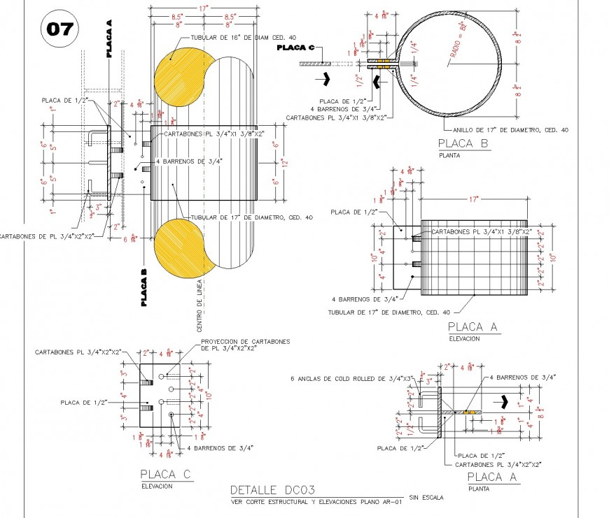 Pipe plan, elevation and section autocad file
