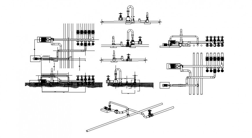 Piping system 2d drawing details in autocad