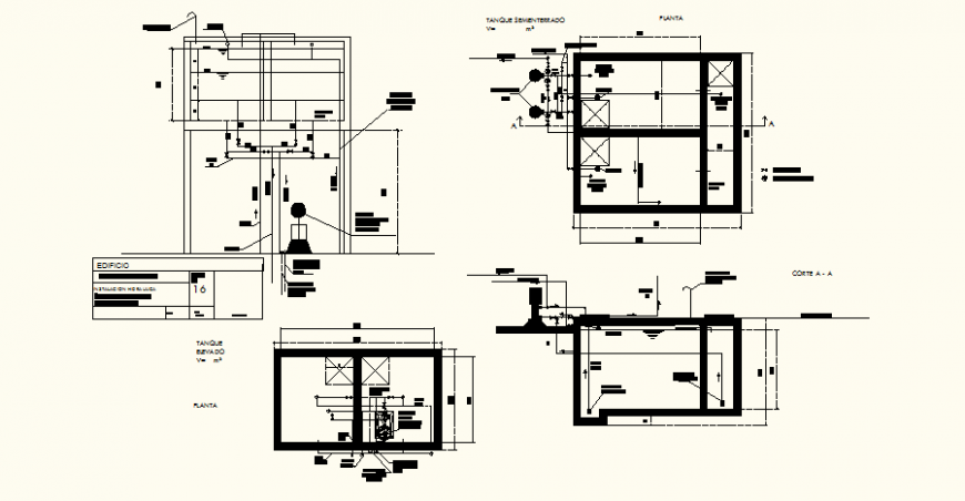Piping system detail building elevation and section dwg file
