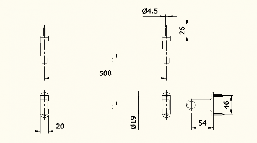 Piping system detail elevation autocad file
