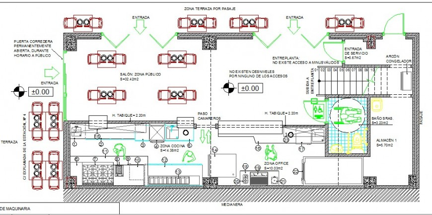 Pizzeria restaurant ground floor plan cad drawing details dwg file