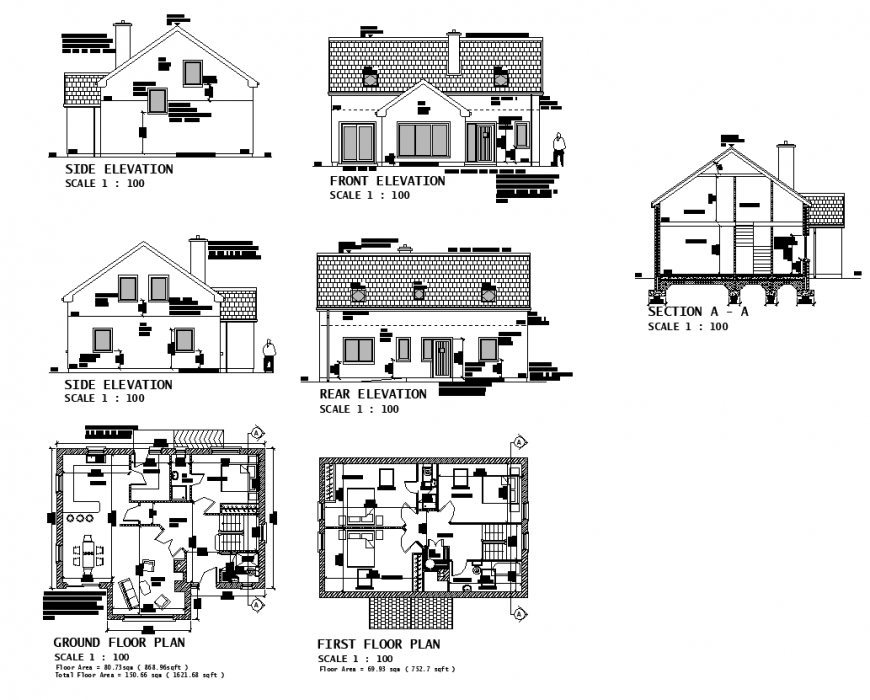 Plan elevation and a section of multi-family building structure 2d view layout file