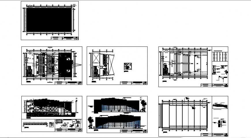 Plan, elevation and section of multiplex theater building  CAD construction block layout file in autocad format