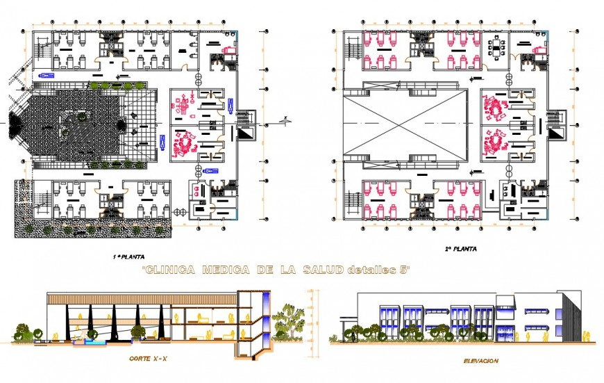 Plan, elevation and section clinic plan layout file
