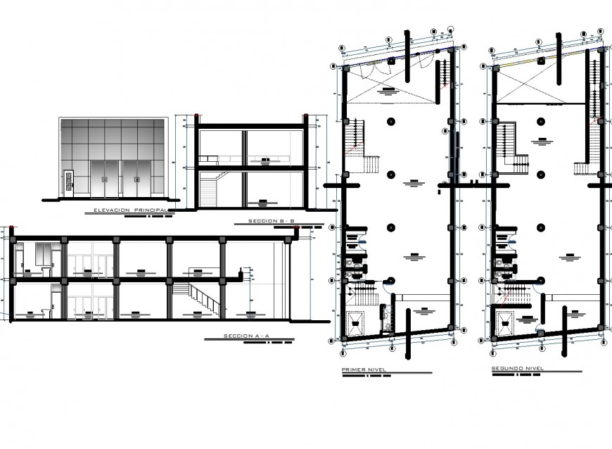 Plan, elevation and section commercial plan dwg file