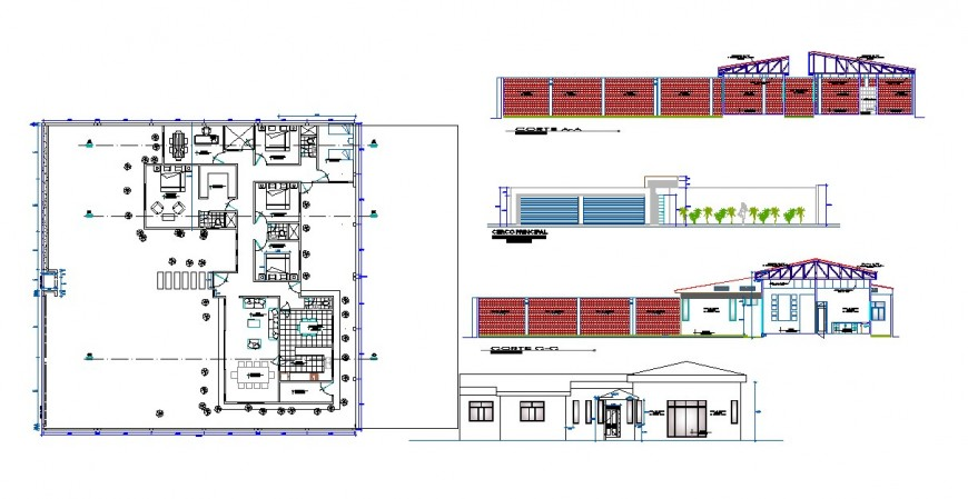 Plan, elevation and section detail bungalow autocad file