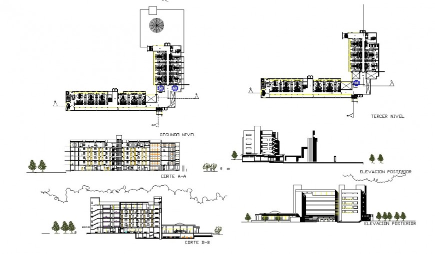 Plan, elevation and section detail commercial building dwg file
