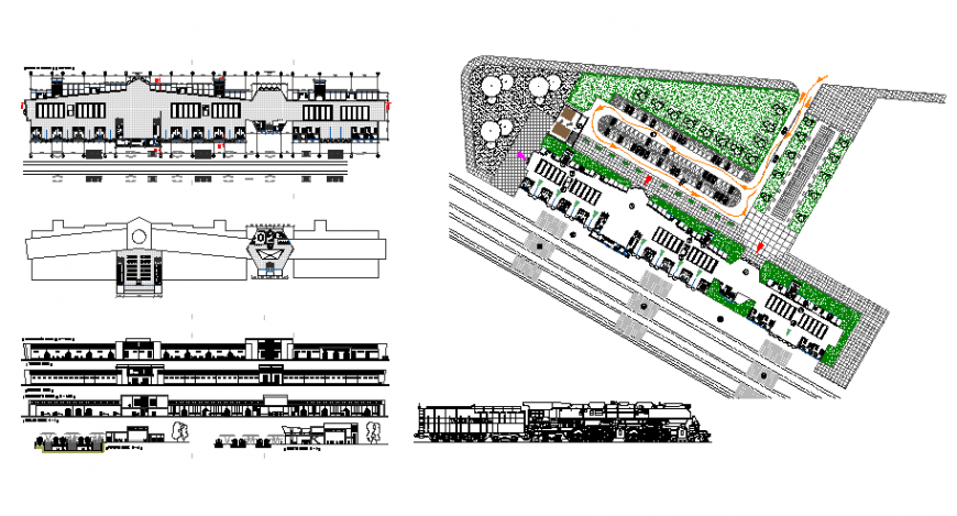 Plan, elevation and section detail commercial building layout file