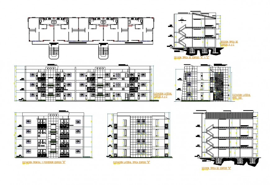 Plan, elevation and section detail corporate building plan autocad file