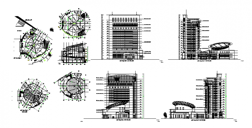 Plan, elevation and section detail high rise building layout file