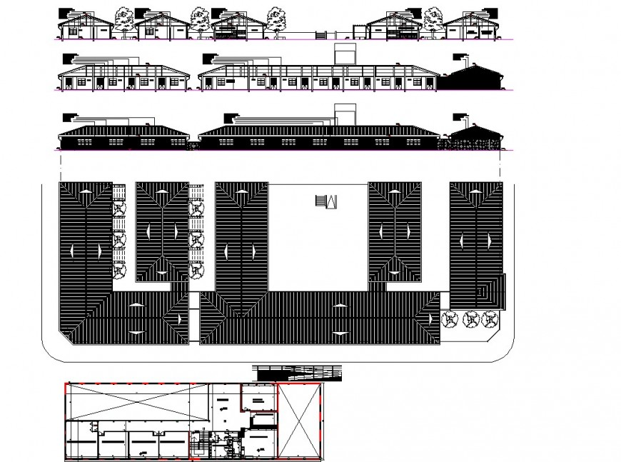 Plan, elevation and section detail hotel building detail dwg file