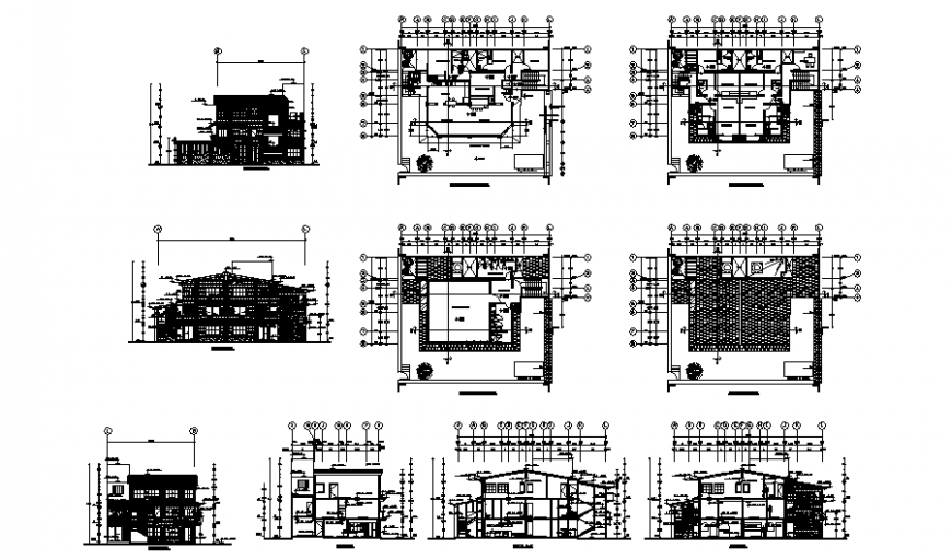 Plan, elevation and section detail house autocad file