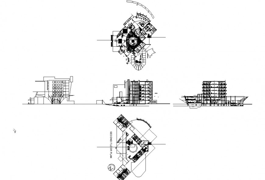 Plan, elevation and section detail multi story commercial building autocad file