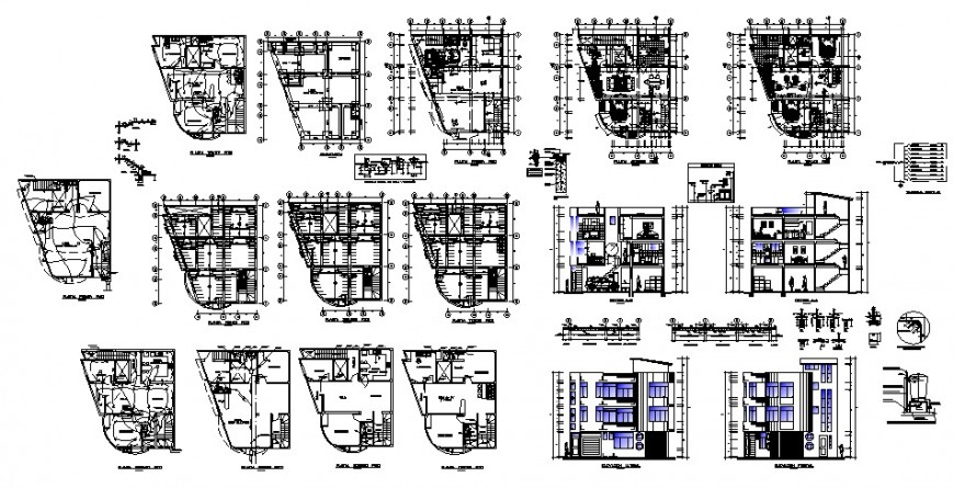 Plan, elevation and section detail of multi-story building structure with furniture block layout autocad file