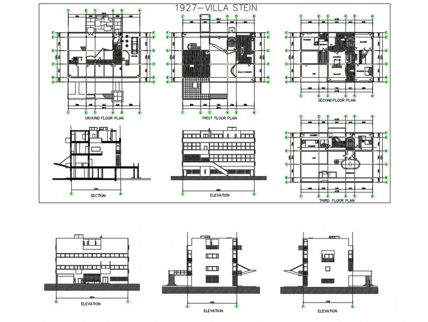 Plan, elevation and section detail of villa detail 2d view CAD structural block autocad file