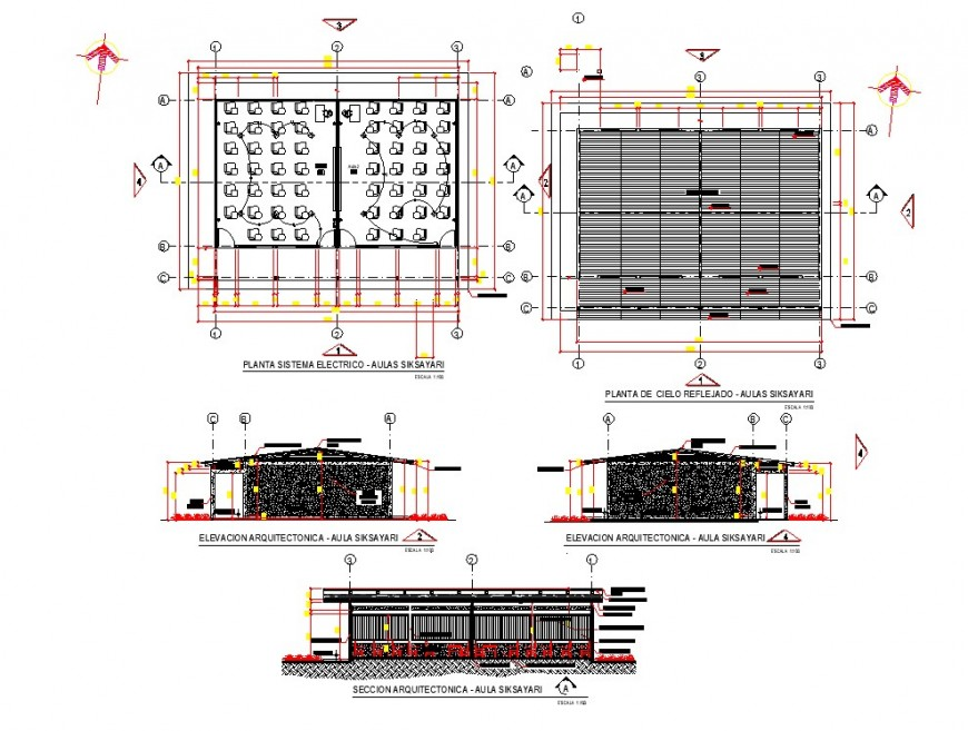Plan, elevation and section detail siksayari electrical autocad file