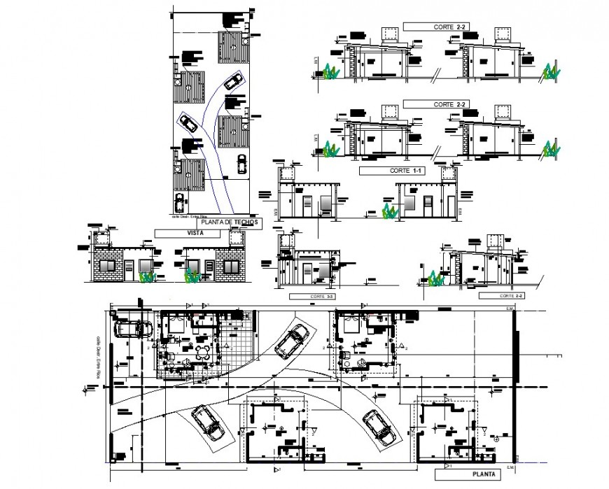 Plan, elevation and section detail small office autocad file
