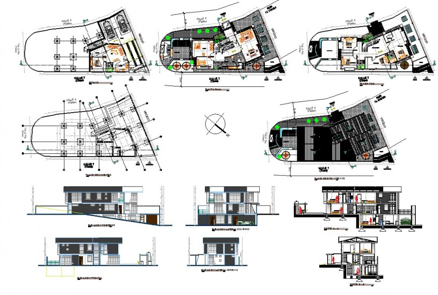Plan, elevation and section home working detail dwg file