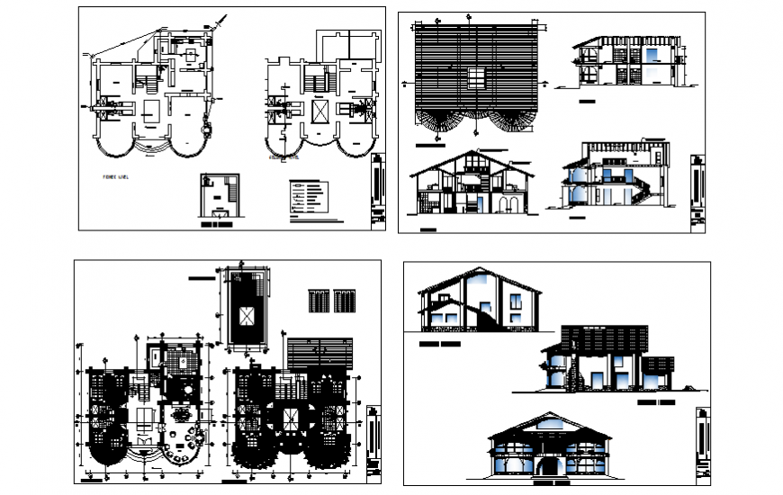 Plan, elevation and section living place detail dwg file