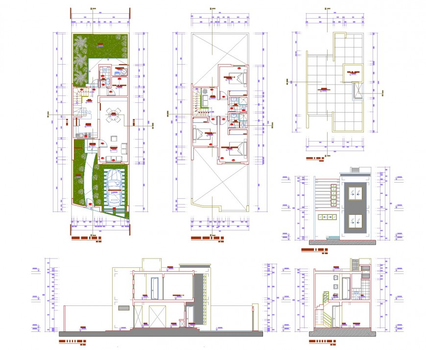 Plan, elevation and section multifamily plan autocad file
