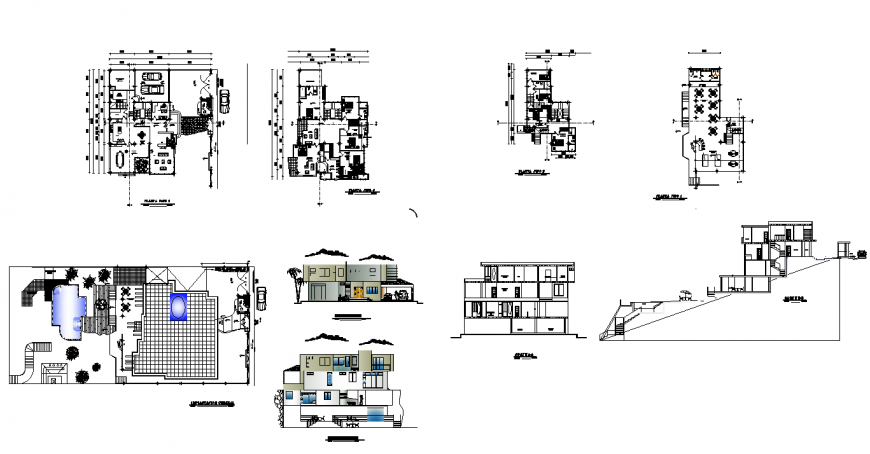Plan, elevation and section of house structure 2d view layout file