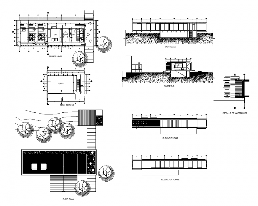 Plan, elevation and section of residential house structure 2d view dwg file