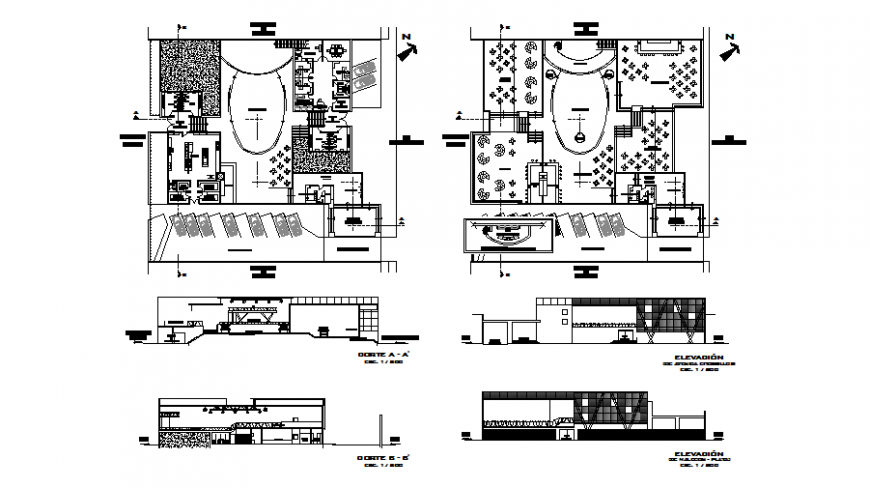 Plan, elevation and section restaurant autocad file