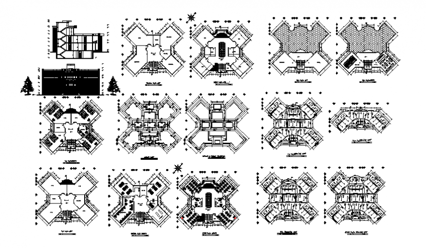 Plan, elevation and section restaurant detail autocad file