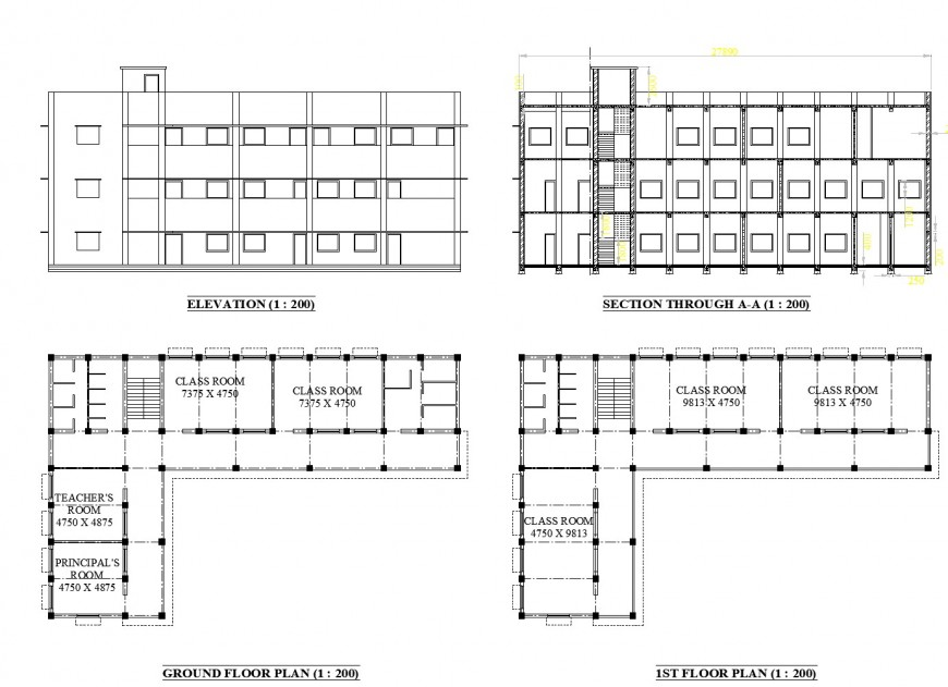 Plan, elevation and section school layout file