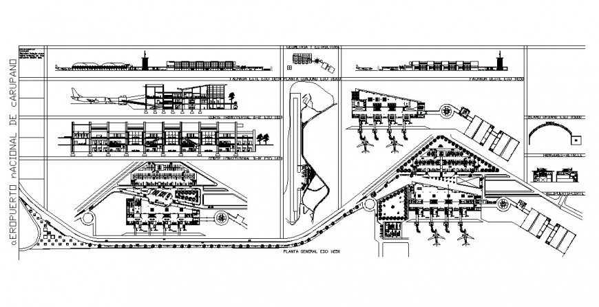 Plan, elevation and sectional detail of airport structure 2d view CAD block layout file in dwg format