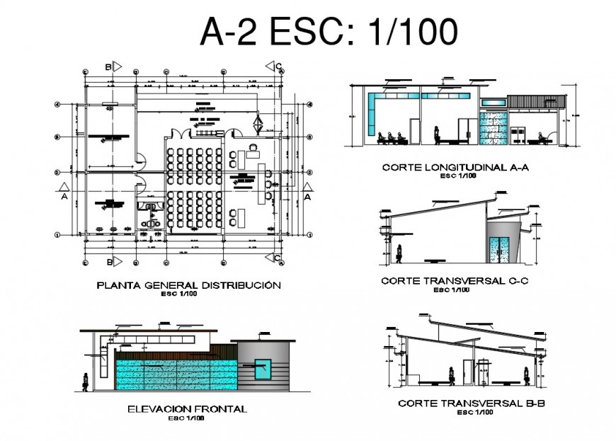 Plan, elevation and sectional detail of auditorium building block layout file in dwg format