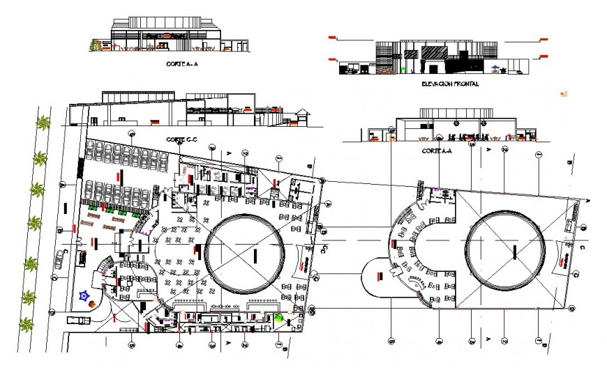 Plan, elevation and sectional detail of hotel building structure layout file in autocad format