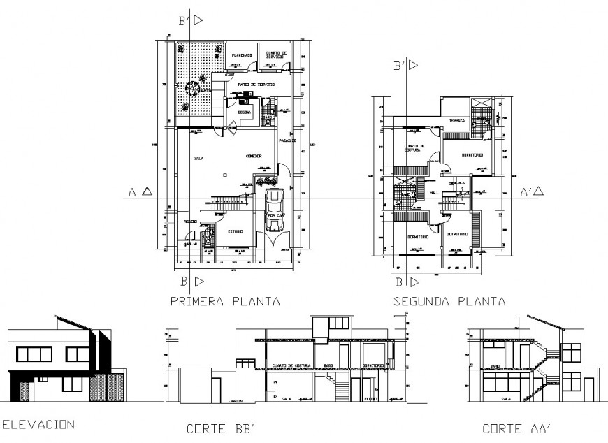 Plan, elevation and sectional detail of house structure 2d view layout autocad file