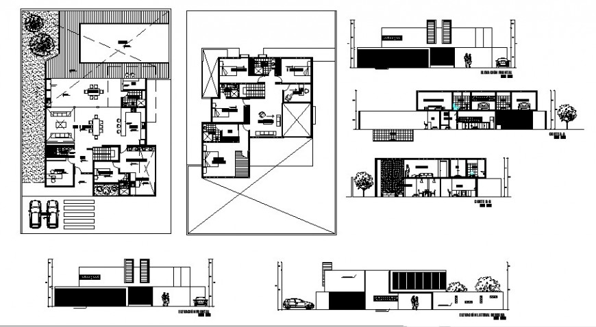 Plan, elevation and sectional detail of residential apartment 2d view autocad file