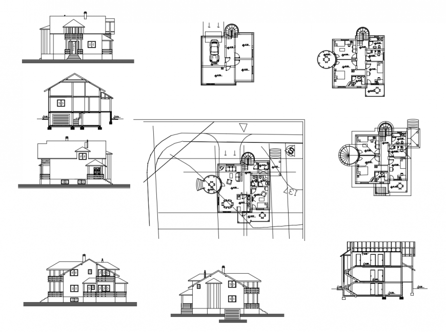 Plan, elevation and sectional detail of residential house dwg file
