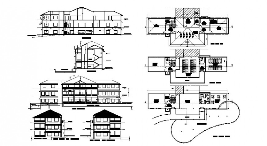 Plan, elevation and sectional of school building blocks layout autocad file