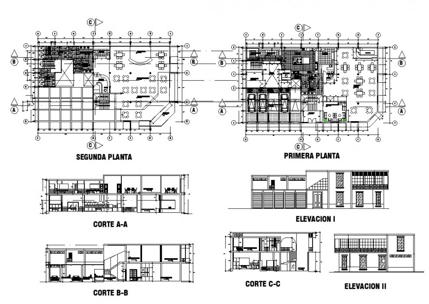 Plan, section and elevation of hotel building structure 2d view CAD construction block layout dwg file