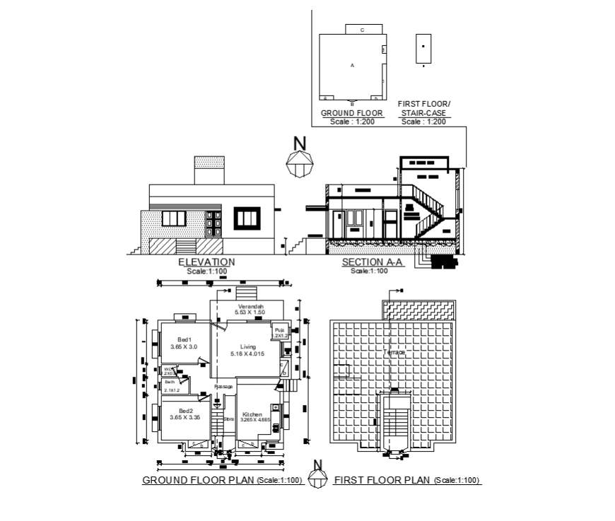 Plan, section and elevation of house building structure layout autocad file