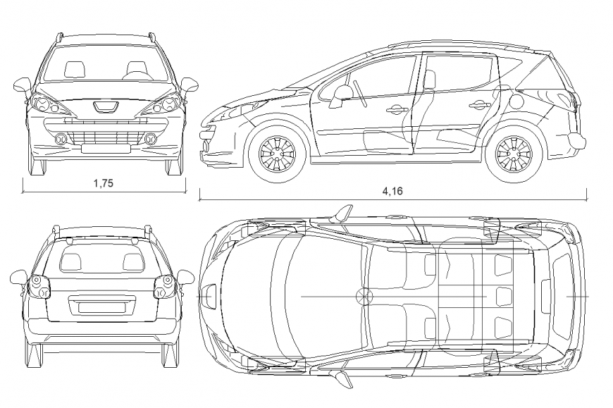 Plan,elevation,rear side and front side of car design dwg file