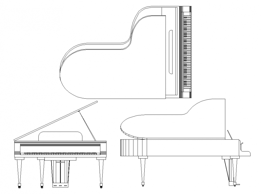 Plan,elevation and isometric detail of piano a part of musical instrument dwg file