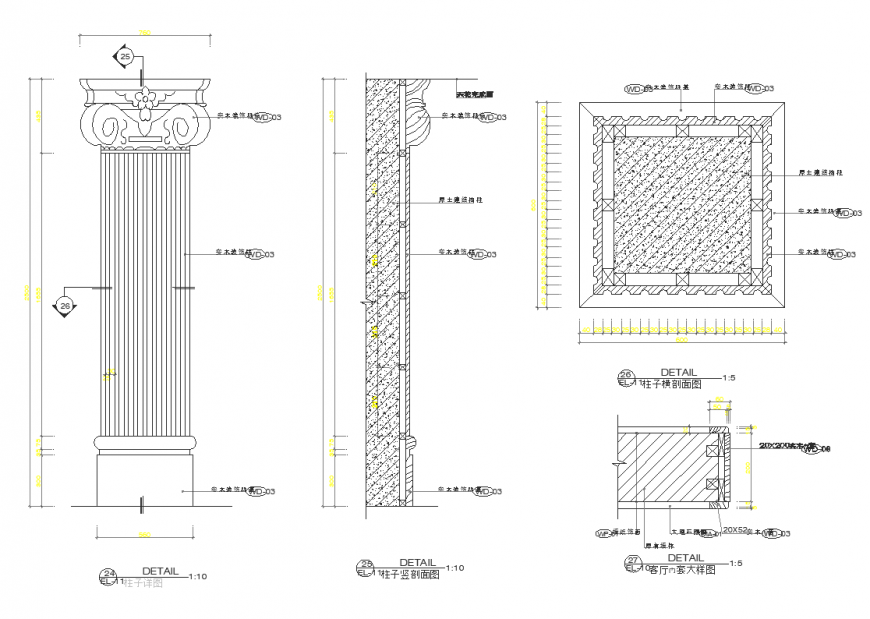 Plan,elevation and sectional detail of pillar with interior design dwg file