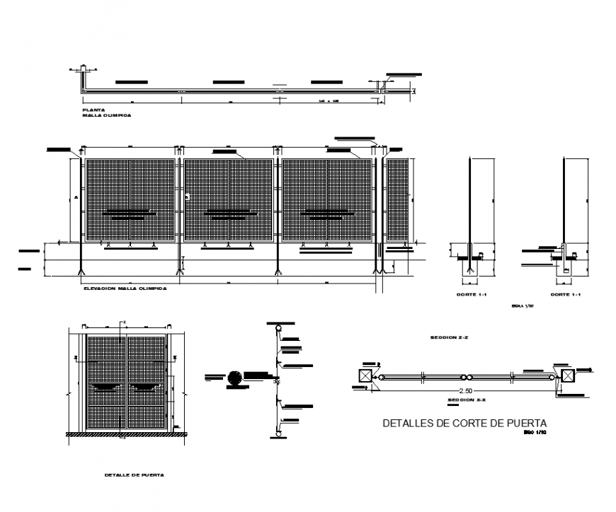 Plan,elevation and side view of door with mesh area in design dwg file