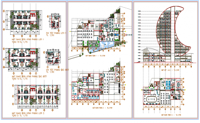 plan and elevation of  Hotel dwg file